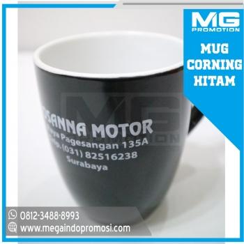 Gelas / Mug Corning Hitam Promosi